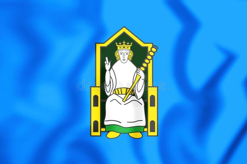 bandiera 3D di Mide, Irlanda illustrazione vettoriale
