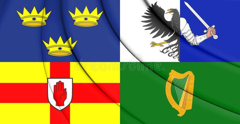 Bandiera 3D di quattro province dell'Irlanda illustrazione di stock