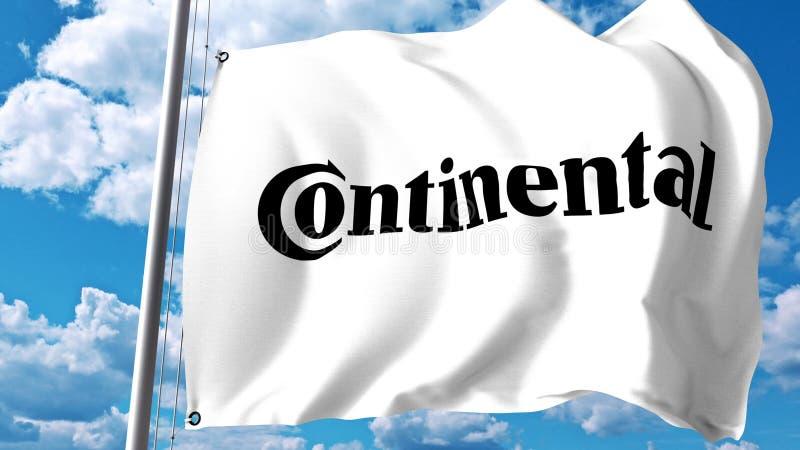 Bandiera d'ondeggiamento con il logo continentale dell'AG contro le nuvole ed il cielo Rappresentazione editoriale 3D royalty illustrazione gratis