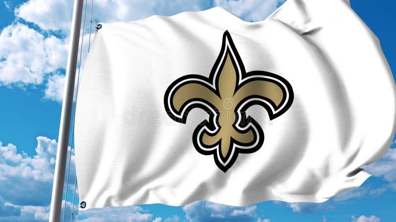 Bandiera d'ondeggiamento con il logo professionale del gruppo di New Orleans Saints Rappresentazione editoriale 3D illustrazione vettoriale