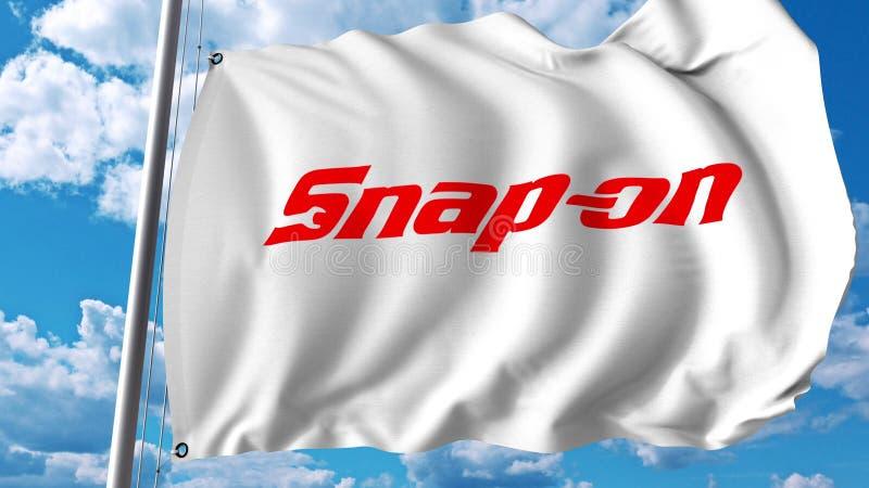 Bandiera d'ondeggiamento con il logo a scatto Rappresentazione di Editoial 3D illustrazione vettoriale