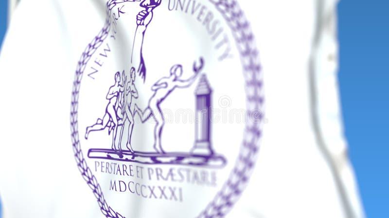 Bandiera d'ondeggiamento con l'emblema dell'università di New York, primo piano Rappresentazione editoriale 3D royalty illustrazione gratis