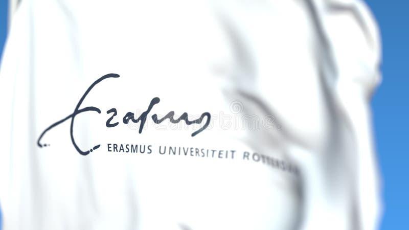 Bandiera d'ondeggiamento con l'emblema di Erasmus University Rotterdam, primo piano Rappresentazione editoriale 3D illustrazione vettoriale