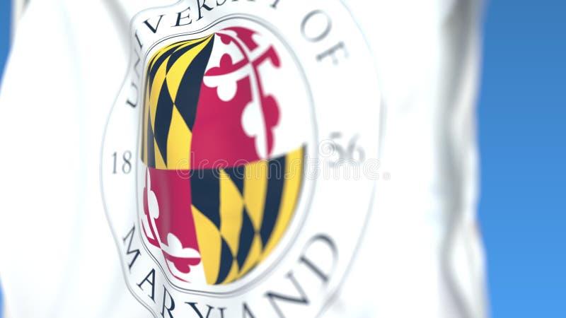 Bandiera d'ondeggiamento con l'università del Maryland, emblema del parco dell'istituto universitario, primo piano Rappresentazio illustrazione di stock