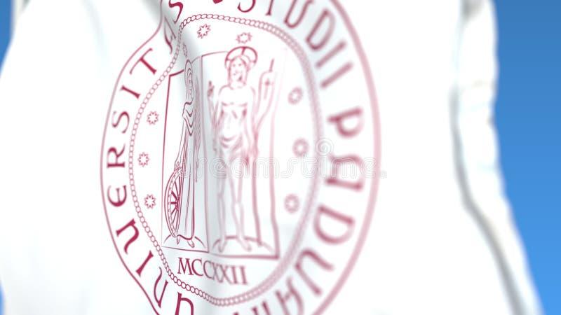 Bandiera d'ondeggiamento con l'università di emblema di Padova, primo piano Rappresentazione editoriale 3D illustrazione di stock