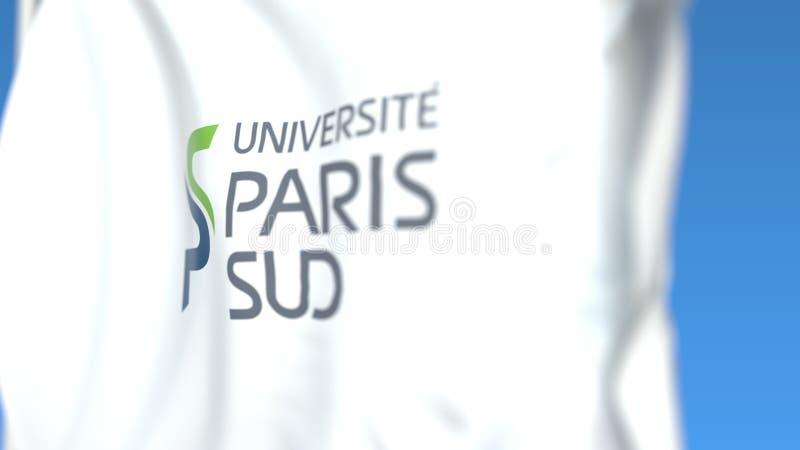 Bandiera d'ondeggiamento con l'università di emblema di Parigi Xi del Sud di Parigi, primo piano Rappresentazione editoriale 3D illustrazione vettoriale