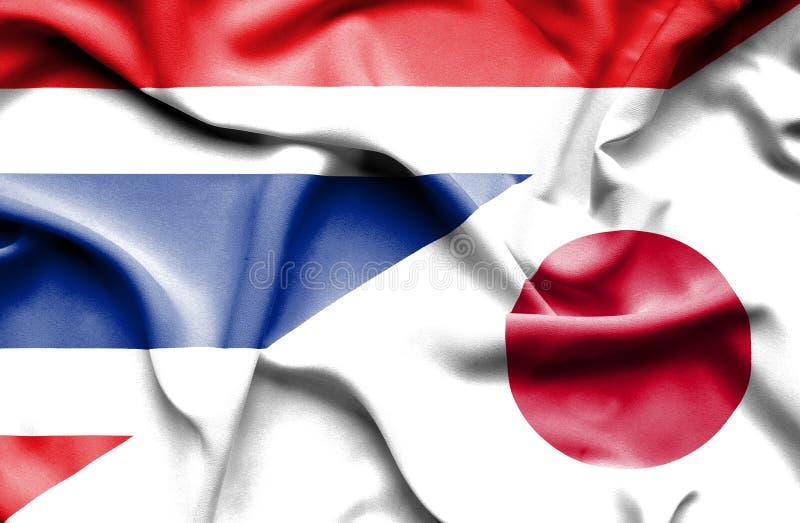 Bandiera d'ondeggiamento del Giappone e della Tailandia royalty illustrazione gratis