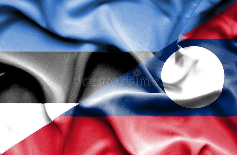 Bandiera d'ondeggiamento del Laos e dell'Estonia fotografie stock libere da diritti