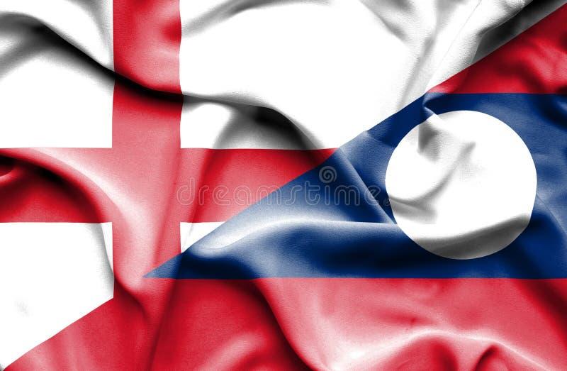 Bandiera d'ondeggiamento del Laos e dell'Inghilterra immagine stock