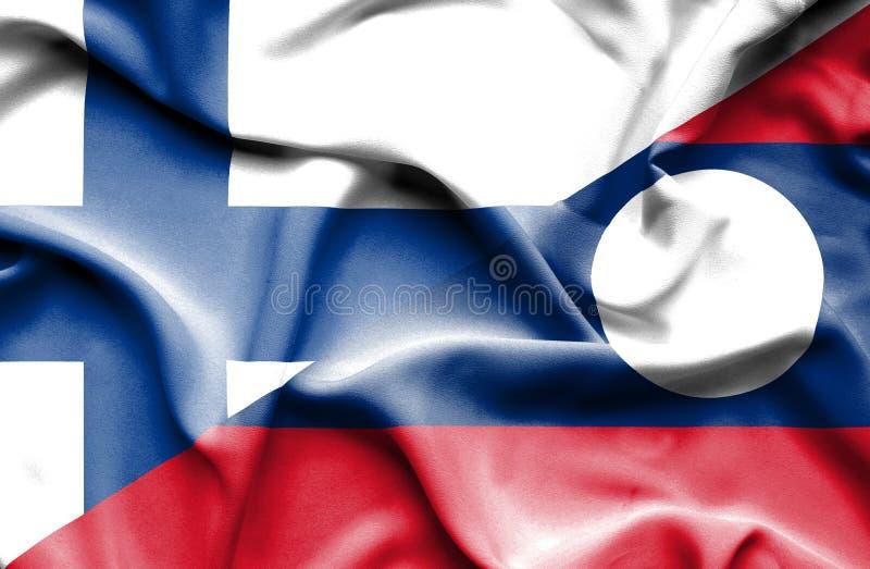Bandiera d'ondeggiamento del Laos e della Finlandia immagine stock libera da diritti