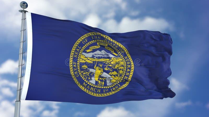 Bandiera d'ondeggiamento del Nebraska immagini stock libere da diritti