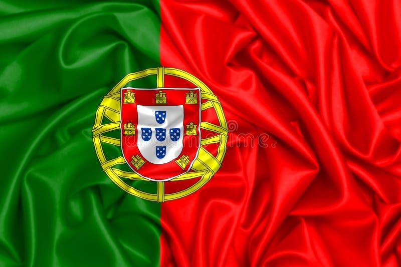 bandiera d'ondeggiamento 3d del Portogallo royalty illustrazione gratis