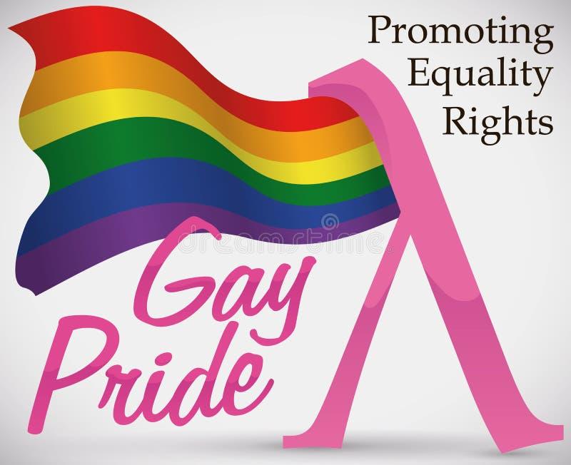 Bandiera d'ondeggiamento dell'arcobaleno e simbolo rosa di lambda per gay pride, illustrazione di vettore illustrazione di stock