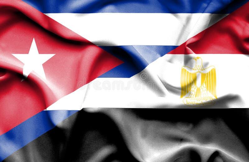 Bandiera d'ondeggiamento dell'Egitto e di Cuba illustrazione vettoriale