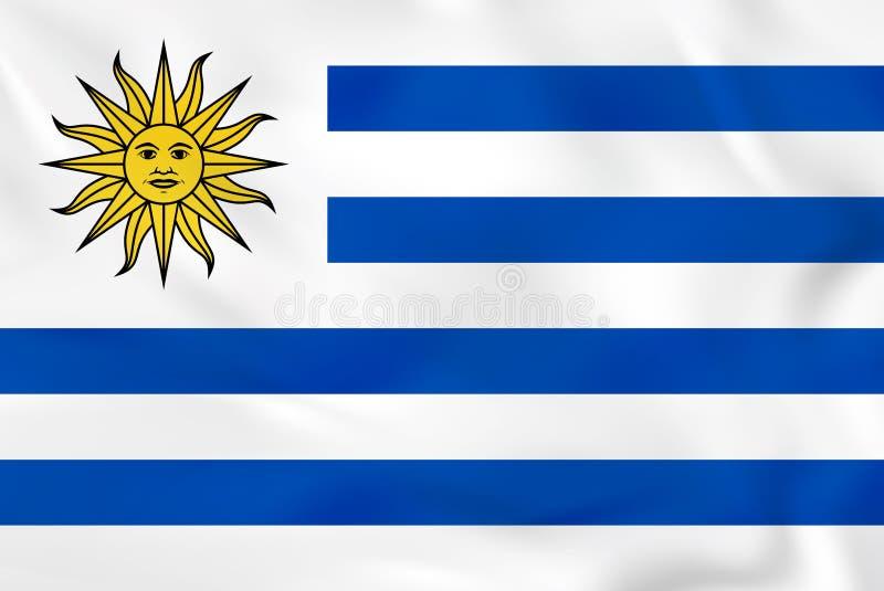 Bandiera d'ondeggiamento dell'Uruguay Struttura del fondo della bandiera nazionale dell'Uruguay illustrazione di stock