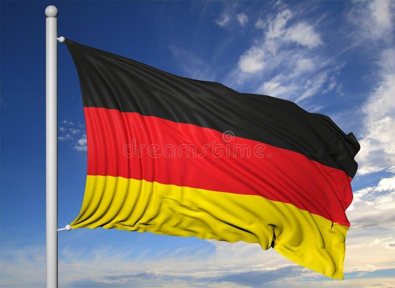 Bandiera d 39 ondeggiamento della germania sull 39 asta della - Bandiera della pagina di colorazione della germania ...