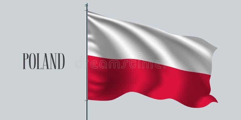 Bandiera d'ondeggiamento della Polonia sull'illustrazione di vettore dell'asta della bandiera illustrazione di stock