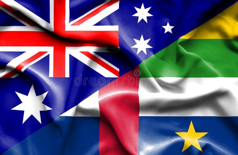 Bandiera d'ondeggiamento della Repubblica centroafricana e dell'Australia royalty illustrazione gratis