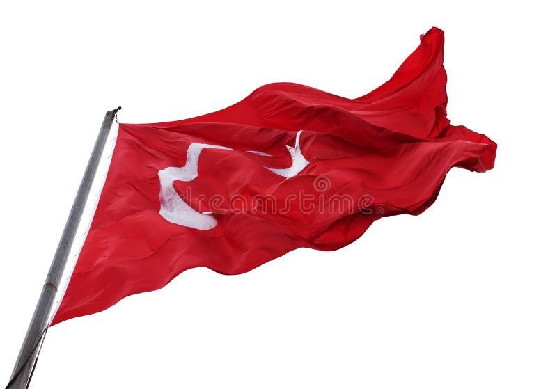 Bandiera d'ondeggiamento della Turchia con l'asta della bandiera immagine stock