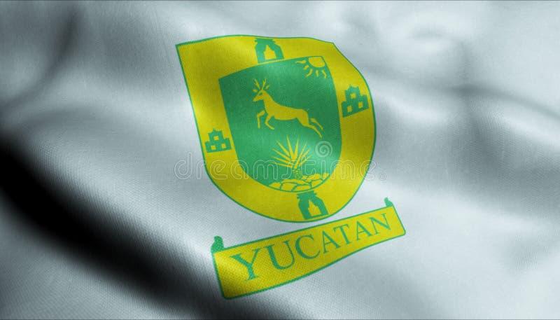 bandiera d'ondeggiamento 3D della vista del primo piano della città di Yucatan royalty illustrazione gratis