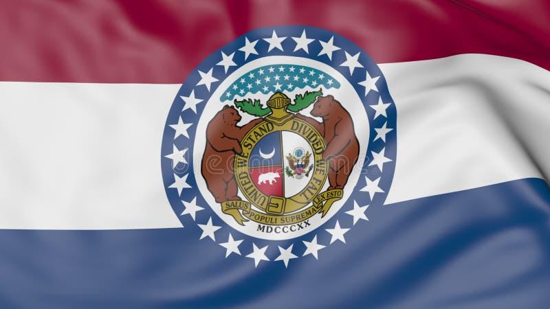 Bandiera d'ondeggiamento dello stato del Missouri rappresentazione 3d immagine stock