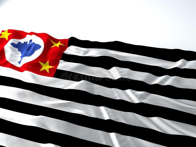 Bandiera d'ondeggiamento dello stato di Sao Paulo immagine stock libera da diritti