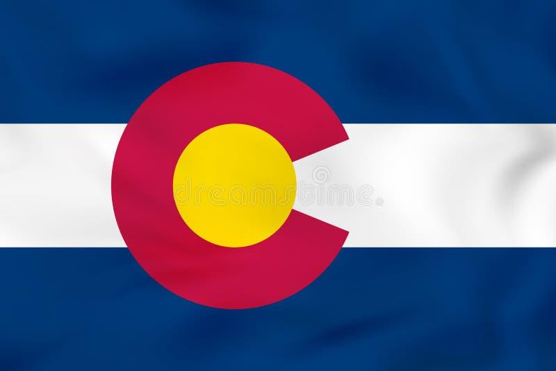 Bandiera d'ondeggiamento di Colorado Struttura del fondo della bandiera dello stato di Colorado illustrazione di stock