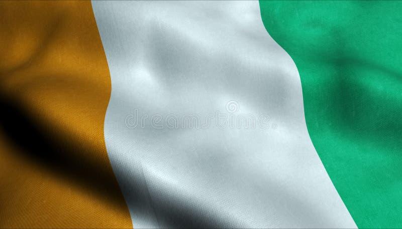 Bandiera d'ondeggiamento di Costa d'Avorio in 3D royalty illustrazione gratis