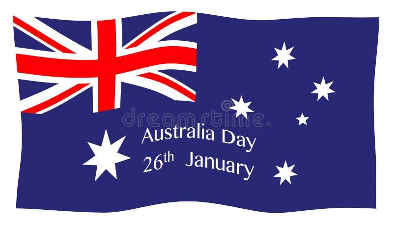 Bandiera d'ondeggiamento di giorno dell'Australia illustrazione di stock