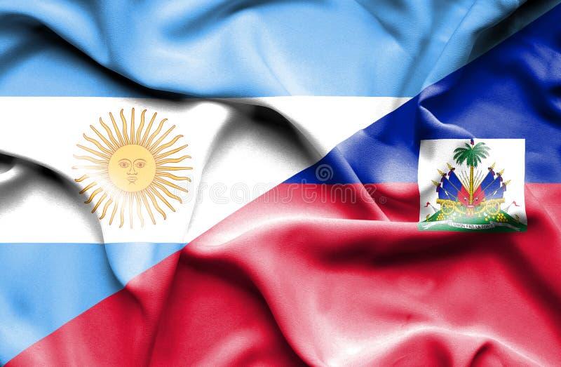 Bandiera d'ondeggiamento di Haiti e dell'Argentina illustrazione di stock