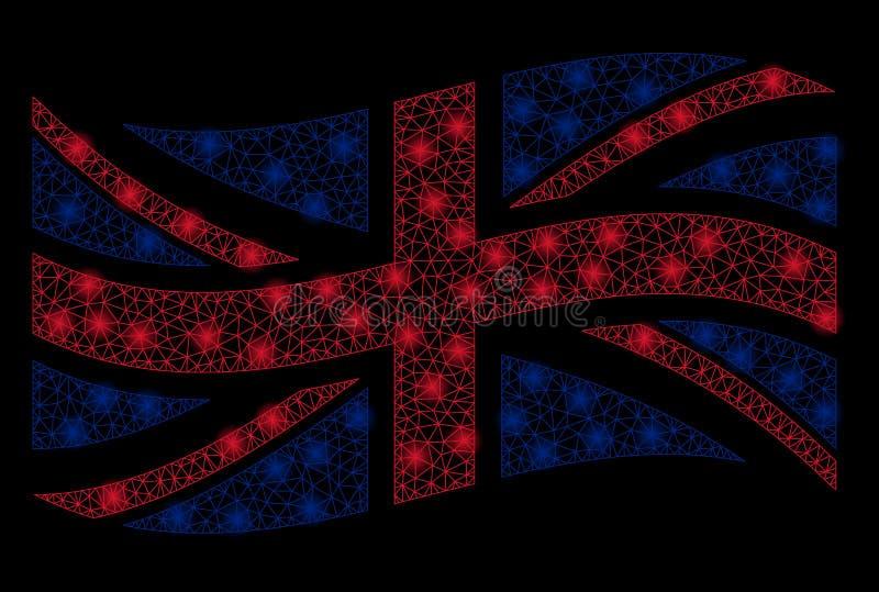 Bandiera d'ondeggiamento Mesh Illustration del Regno Unito con effetto della luce fotografia stock libera da diritti