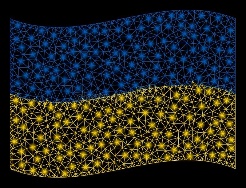 Bandiera d'ondeggiamento Mesh Illustration dell'Ucraina con effetto della luce immagine stock libera da diritti