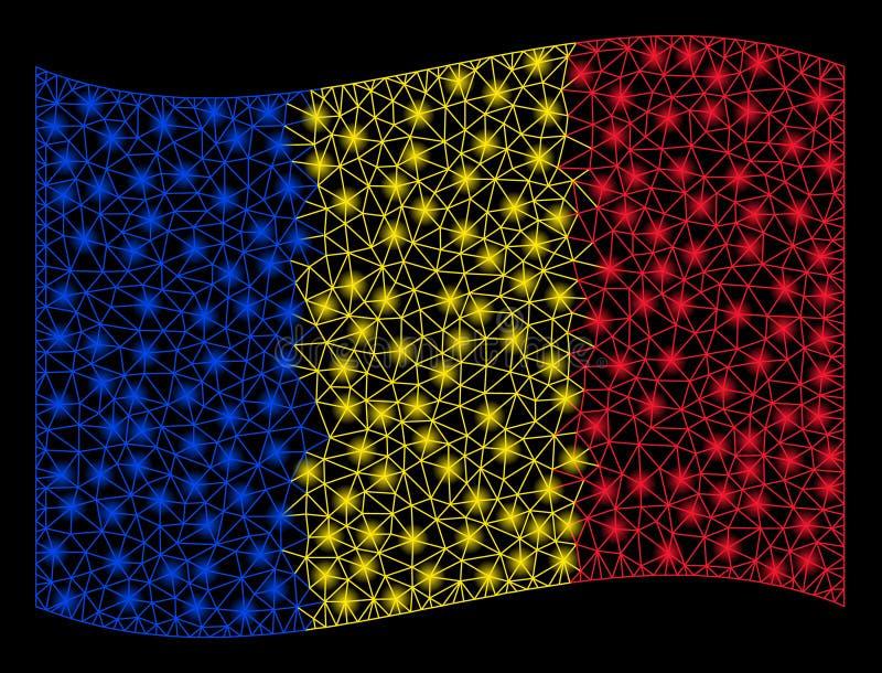 Bandiera d'ondeggiamento Mesh Illustration della Romania con effetto istantaneo fotografie stock