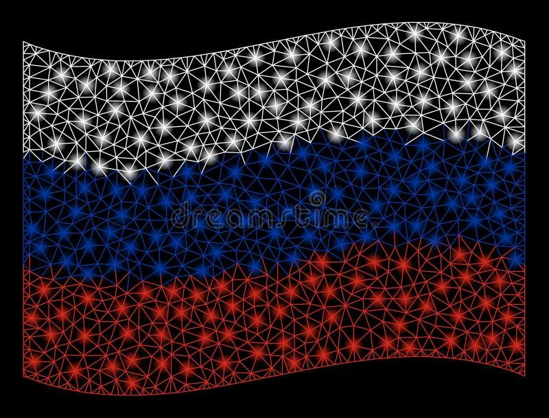 Bandiera d'ondeggiamento Mesh Illustration della Russia con effetto della luce immagini stock libere da diritti