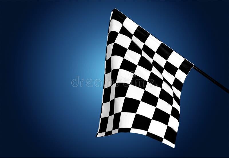 Bandiera d'ondeggiamento a quadretti su fondo illustrazione vettoriale