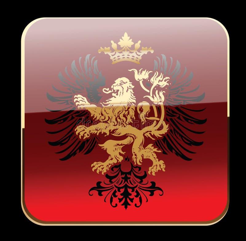 Bandiera decorata dell'araldica decorativa rossa nera di incandescenza. royalty illustrazione gratis