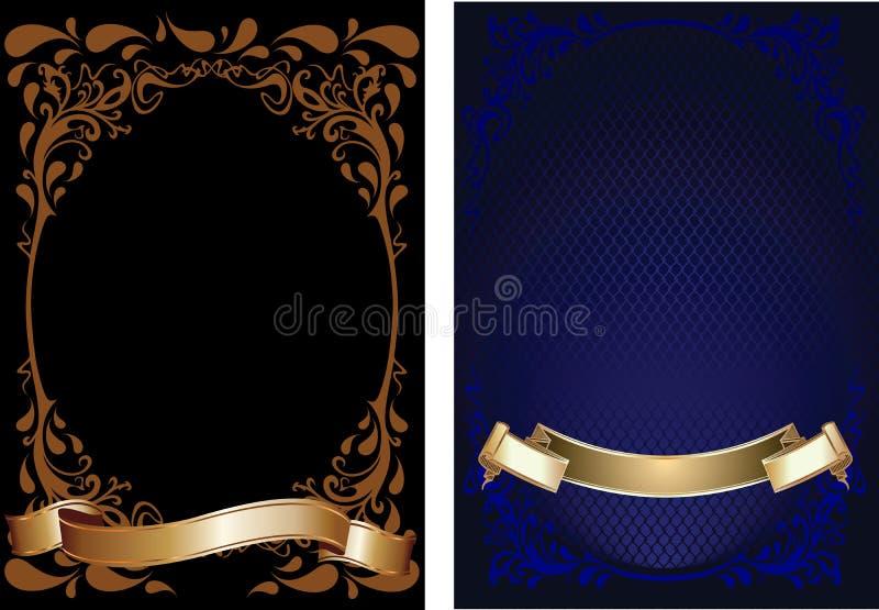 Bandiera decorata dell'azzurro, del Brown e dell'oro. illustrazione vettoriale