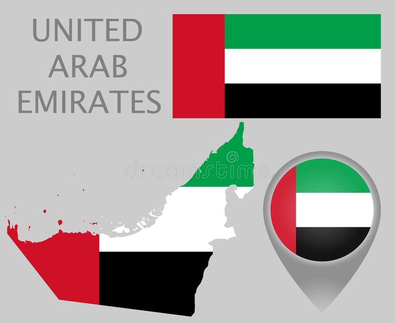 Bandiera degli Emirati Arabi Uniti, mappa e puntatore della mappa illustrazione vettoriale