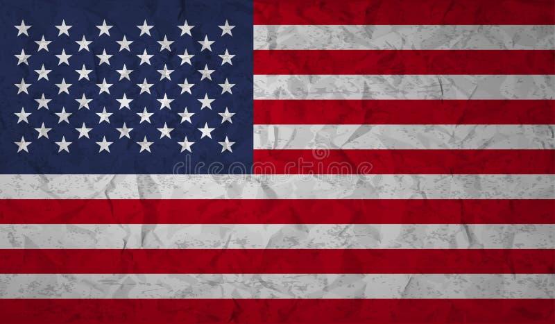 Bandiera degli Stati Uniti con l'effetto di carta e del lerciume sgualciti illustrazione di stock
