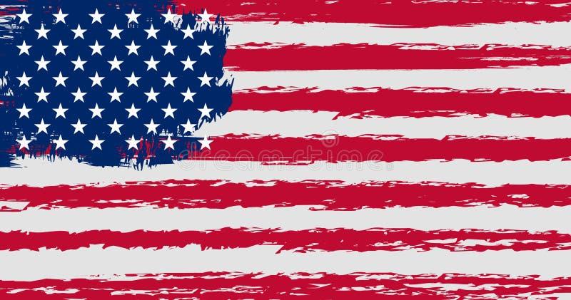 Bandiera degli Stati Uniti d'America nello stile di lerciume con i colori e le proporzioni originali illustrazione vettoriale