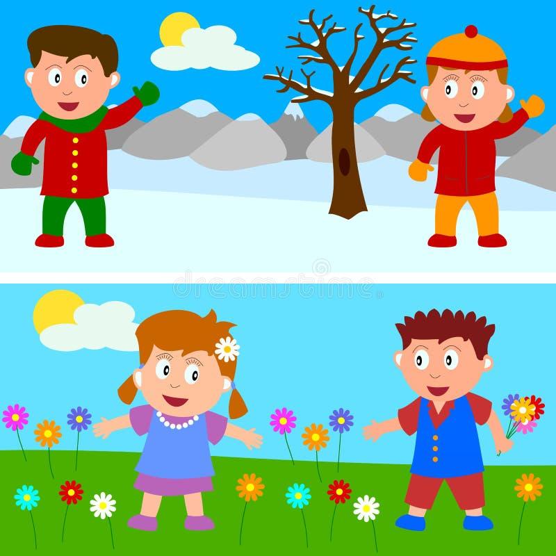 Bandiera dei bambini della primavera & di inverno illustrazione vettoriale