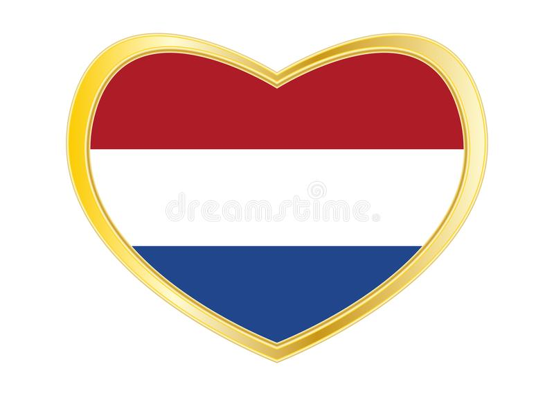 Bandiera dei Paesi Bassi nella forma del cuore, struttura dell'oro royalty illustrazione gratis