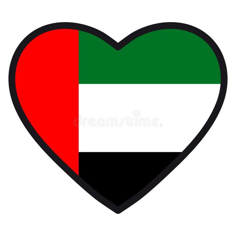 Bandiera dei UAE sotto forma di cuore con il contorno di contrapposizione, symb illustrazione di stock