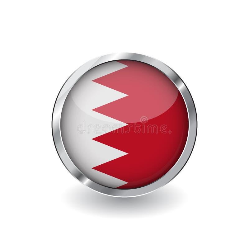 Bandiera del Bahrain, bottone con la struttura del metallo e l'ombra icona di vettore della bandiera della Bahrain, distintivo co illustrazione vettoriale