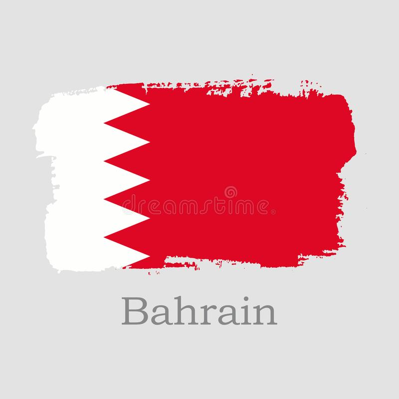 Bandiera del Bahrain di tiraggio della mano illustrazione di stock