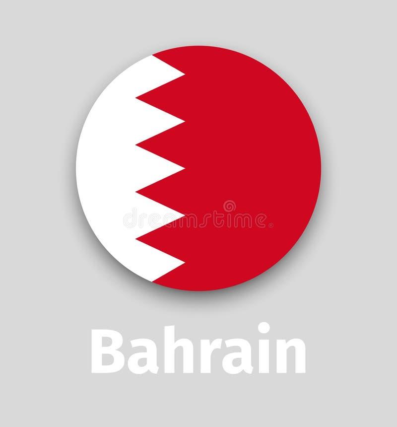 Bandiera del Bahrain, icona rotonda illustrazione di stock