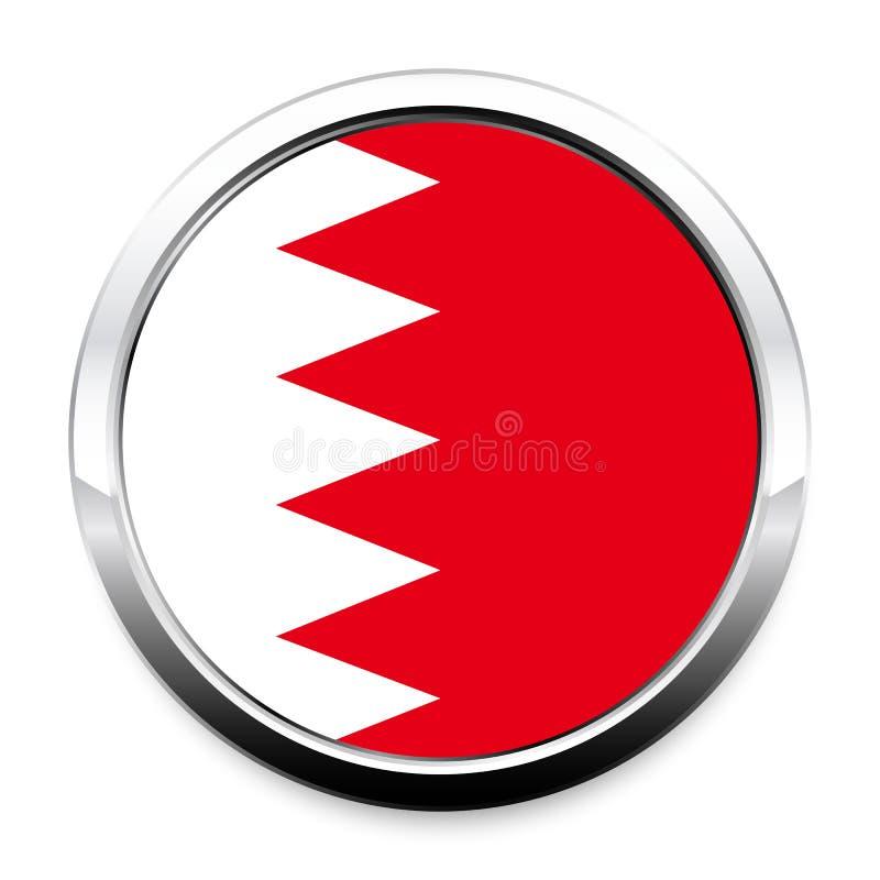 Bandiera del bottone del Bahrain nel telaio rotondo del cromo del metallo illustrazione di stock