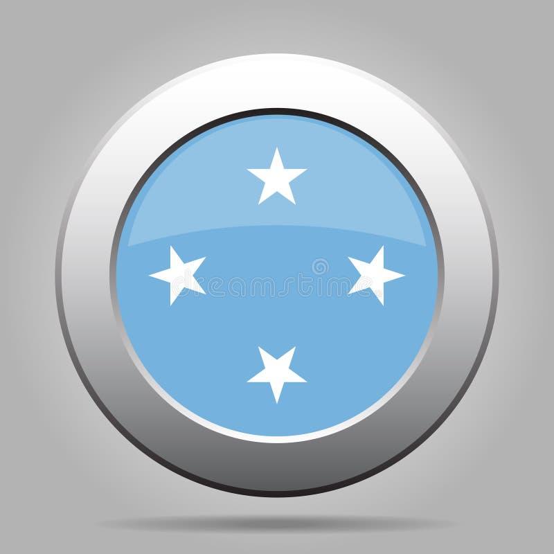 Bandiera del bottone - Stati Federati di Micronesia illustrazione vettoriale