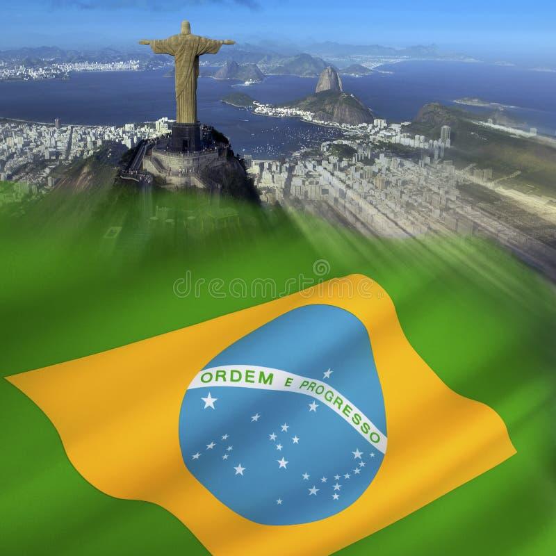 Bandiera del Brasile - Rio de Janeiro fotografia stock libera da diritti