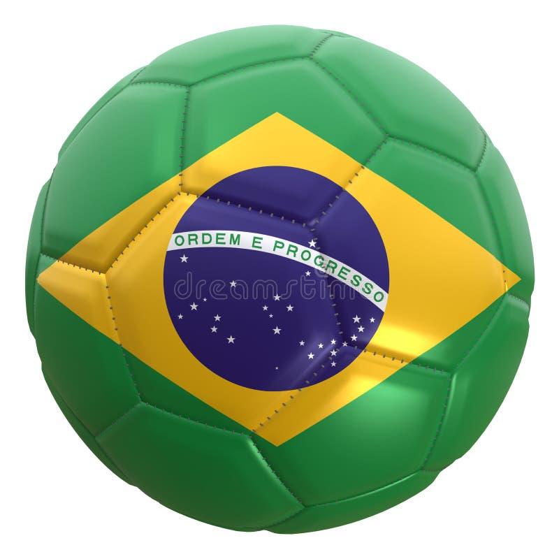 Bandiera del Brasile su una palla di calcio illustrazione di stock